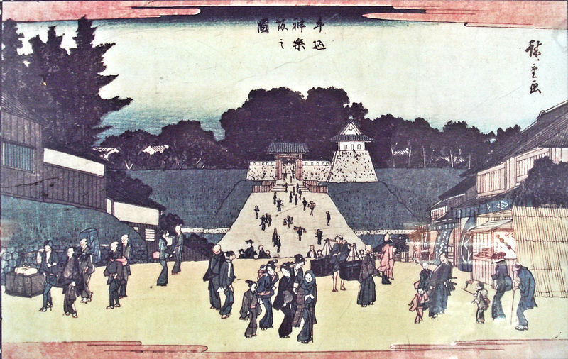 800px-牛込神楽坂の図_歌川広重_1840